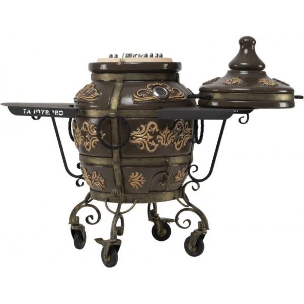 Тандыр Гранд (Черный) с двумя столиками на колесах